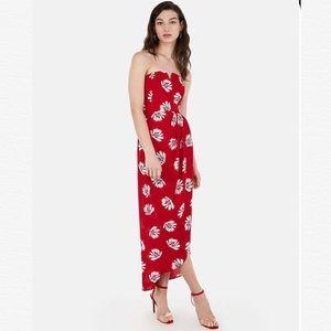 Express Palm Print Strapless Maxi Dress Size 16